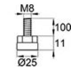 Опора резьбовая с металлическим оцинкованным резьбовым стержнем М8х100 и круглым пластиковым основанием 25 мм.