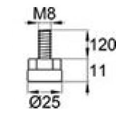 Опора резьбовая с металлическим оцинкованным резьбовым стержнем М8х120 и круглым пластиковым основанием 25 мм.