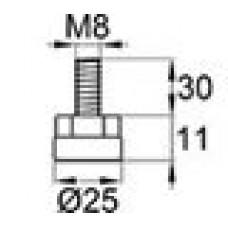 Опора резьбовая с металлическим оцинкованным резьбовым стержнем М8х30 и круглым пластиковым основанием 25 мм.