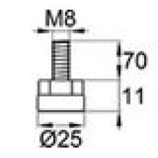 Опора резьбовая с металлическим оцинкованным резьбовым стержнем М8х70 и круглым пластиковым основанием 25 мм.