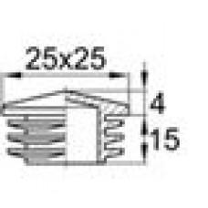 Пластиковая внутренняя заглушка с декоративной шляпкой в форме «домика» для труб квадратного сечения 25x25 мм со стенкой 1.0-3.0 мм.