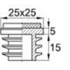 Заглушка пластиковая для труб квадратного сечения с габаритами 25x25 мм и стенкой 1.0-3.0 мм. Поставляется с фетровой подкладкой.