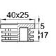 Заглушка пластиковая внутренняя с толстой шляпкой для труб прямоугольного сечения с внешними габаритами сечения 25х40 мм и толщиной стенки трубы 0.5-3.0 мм.