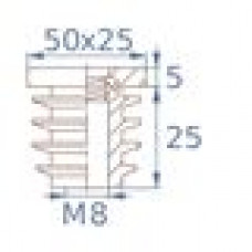 Заглушка пластиковая внутренняя с металлической резьбой М8 для труб прямоугольного сечения с внешними габаритами сечения 25х50 мм и толщиной стенки трубы 2.0 мм.