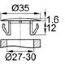 Заглушка пластиковая со шляпкой толщиной 1.6 мм и диаметром 35 мм для отверстия в листовом металле диаметром от 27 мм до 30 мм.