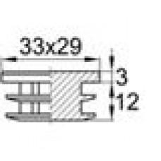Заглушка пластиковая внутренняя для труб полуовального сечения с внешними габаритами сечения 29х33 мм.