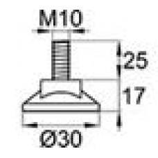 Резьбовая опора М10х25 с круглым основанием 30 мм.