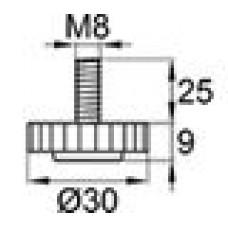 Опора резьбовая М8х25 с круглым основанием D30 мм