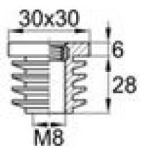 Заглушка пластиковая внутренняя с ребрами и металлической резьбой М8 для труб квадратного сечения 30х30 мм и толщиной стенки трубы 0.5-3.5 мм.
