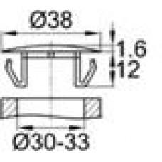 Заглушка пластиковая со шляпкой толщиной 1.6 мм и диаметром 38 мм для отверстия в листовом металле диаметром от 30 мм до 33 мм.