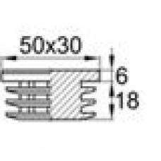 Заглушка пластиковая внутренняя с толстой шляпкой для труб прямоугольного сечения с внешними габаритами сечения 30х50 мм