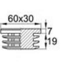 Заглушка пластиковая внутренняя с толстой шляпкой для труб прямоугольного сечения с внешними габаритами сечения 30х60 мм и толщиной стенки трубы 1.5-4.5 мм.