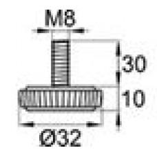 Опора резьбовая М8х30 с круглым основанием D32 мм