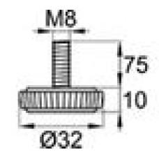 Опора резьбовая М8х75 с круглым основанием D32 мм