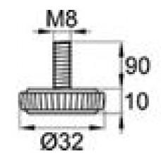 Опора резьбовая М8х90 с круглым основанием D32 мм