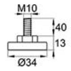 Опора резьбовая с металлическим оцинкованным резьбовым стержнем М10х40 и круглым пластиковым основанием 34 мм.