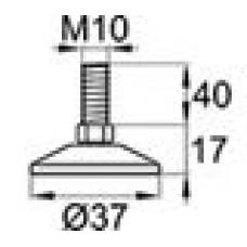 Опора резьбовая с металлическим оцинкованным резьбовым стержнем М10х40 и круглым пластиковым основанием D37 мм.