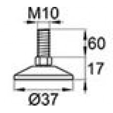 Опора резьбовая с металлическим оцинкованным резьбовым стержнем М10х60 и круглым пластиковым основанием D37 мм.