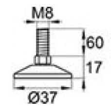 Опора резьбовая с металлическим оцинкованным резьбовым стержнем М8х60 и круглым пластиковым основанием D37 мм.