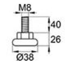Опора резьбовая с металлическим оцинкованным резьбовым стержнем М8х40 и круглым пластиковым основанием 38 мм.