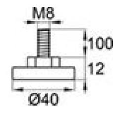 Опора резьбовая с металлическим оцинкованным резьбовым стержнем М8х100 и круглым пластиковым основанием 40 мм.