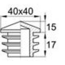 Пластиковая внутренняя заглушка с высокой декоративной шляпкой в форме «домика» для труб квадратного сечения 40х40 мм.