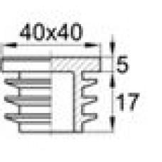 Заглушка пластиковая внутренняя с толстой шляпкой для труб квадратного сечения с внешними габаритами 40х40 мм и толщиной стенки трубы 0.7-2.0 мм.