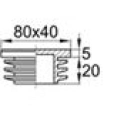 Заглушка пластиковая внутренняя с ребрами и плоской шляпкой для труб прямоугольного сечения с внешними габаритами сечения 80x40 мм и толщиной стенки 1.5-5.0 мм. Изготовлена из первичного материала.