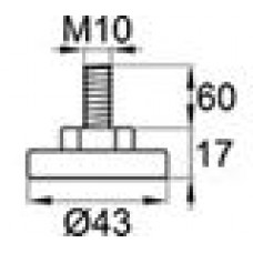 Опора резьбовая с металлическим оцинкованным резьбовым стержнем М10х60 и круглым пластиковым основанием 43 мм.