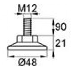 Опора резьбовая с металлическим оцинкованным резьбовым стержнем М12х90 и круглым пластиковым основанием 48 мм.