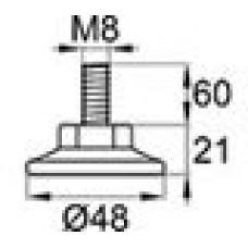 Опора резьбовая М8х60 с круглым основанием 48 мм.
