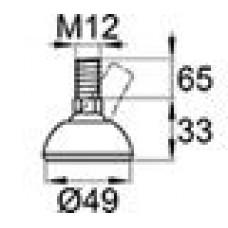 Опора резьбовая с металлическим оцинкованным резьбовым стержнем М12х65 и круглым пластиковым основанием D49 мм.