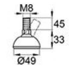 Опора резьбовая с металлическим оцинкованным резьбовым стержнем М8х45 и круглым пластиковым основанием D49 мм.