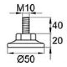 Опора резьбовая с круглым основанием Ø50 мм и металлической оцинкованной резьбой М10х40.