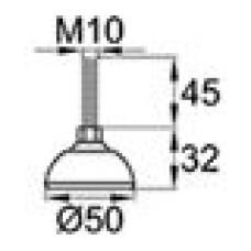 Опора резьбовая с металлическим оцинкованным резьбовым стержнем М10х45 и круглым пластиковым основанием D50 мм