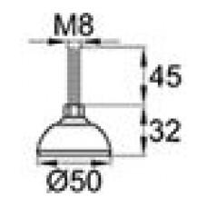 Опора резьбовая с металлическим оцинкованным резьбовым стержнем М8х45 и круглым пластиковым основанием D50 мм