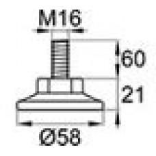 Опора резьбовая с металлическим оцинкованным резьбовым стержнем М16х60 и круглым пластиковым основанием 58 мм.