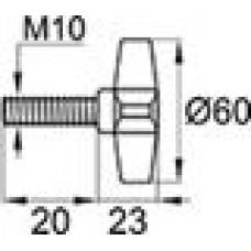 Ручка-фиксатор с пластиковой крестообразной рукояткой диаметром 60 мм и металлической оцинкованной резьбой М10х20