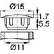 Заглушка пластиковая с тонкой шляпкой 15 мм для отверстия диаметром 11 мм.