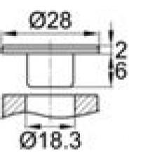 Заглушка пластиковая внутренняя с тонкой шляпкой диаметра 28 мм, под отверстие диаметра 18.3 мм.