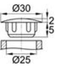 Заглушка пластиковая с тонкой шляпкой 30 мм для отверстия диаметром 25 мм.