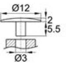 Заглушка пластиковая с тонкой шляпкой 12 мм для отверстия диаметром 3 мм.