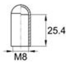 Термостойкая наружная заглушка для труб круглого сечения с внешним диаметром 7.9 мм. Подходит под резьбу М8. Выдерживает температуру до 177 °С.