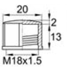Пластиковый колпачок для внутренней резьбы M18x1.5 и уплотнительным диском из неопрена. Может быть установлен с помощью гаечного ключа.