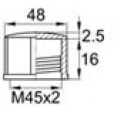 Колпачок пластиковый с внутренней резьбой M45x2 и уплотнительным диском из неопрена. Может быть установлен с помощью гаечного ключа.