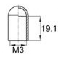 Термостойкая наружная заглушка для прутков диаметром 2.8 мм. Подходит под резьбу М3. Выдерживает температуру до 315 °С.