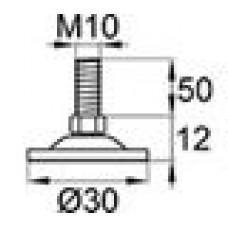 Опора резьбовая с круглым основанием диаметром 30 мм и металлической резьбой М10х50 с возможностью регулировки высоты с помощью 14 ключа.