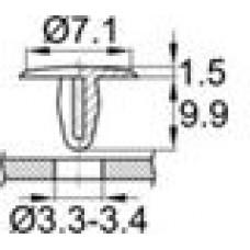Пластиковая заклепка под отверстие диаметром 3.3-3.4 мм.
