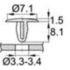 Пластиковая заклёпка под отверстие диаметром 3.3-3.4 мм. Диаметр шляпки 7.1 мм. Изготовлена из полиамида, устойчивого к воздействию влаги и окислению. Лёгкая пластиковая заклёпка н