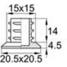 Заглушка пластиковая внутренняя с толстой плоской шляпкой для труб квадратного сечения с внешними габаритами 15х15 мм, толщина стенки 1.5-2 мм